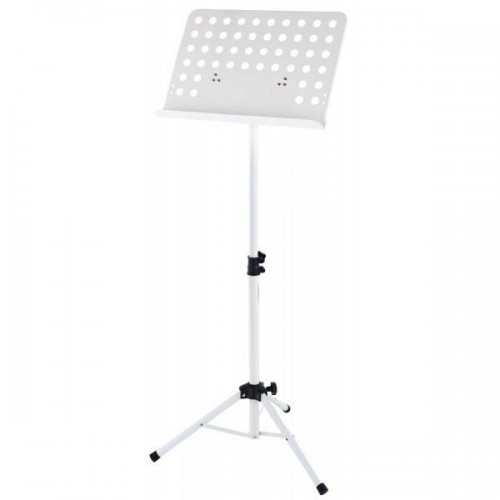 Classic Cantabile Orchestra Music Stand Perforated Metal Plate Heavy White
