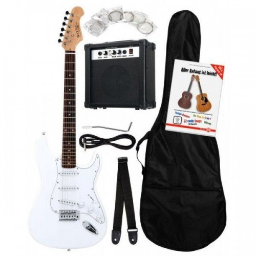 Rocktile Banger's Pack Electric Guitar Set, 8-Piece White