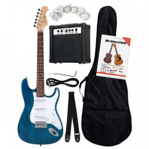 Rocktile Bangers Pack Electric Guitar Set 8-Piece Transparent Blue