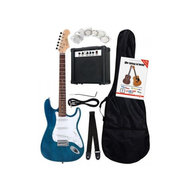 Rocktile Bangers Pack Electric Guitar Set 8-Piece Transparent Blue