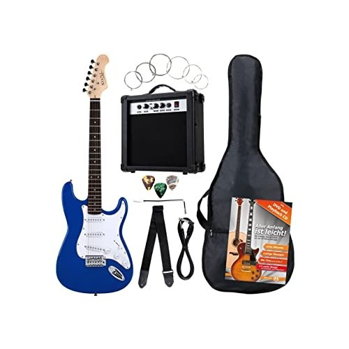 Rocktile Banger's Pack Electric Guitar Set, 8-Piece Blue